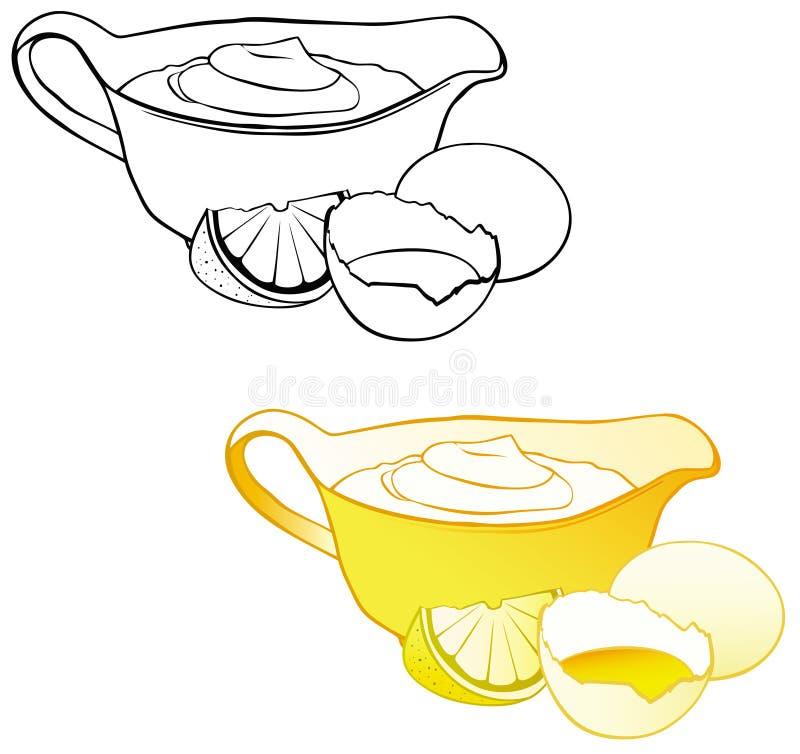 κρεμώδης σάλτσα μαγιονέζ&al απεικόνιση αποθεμάτων