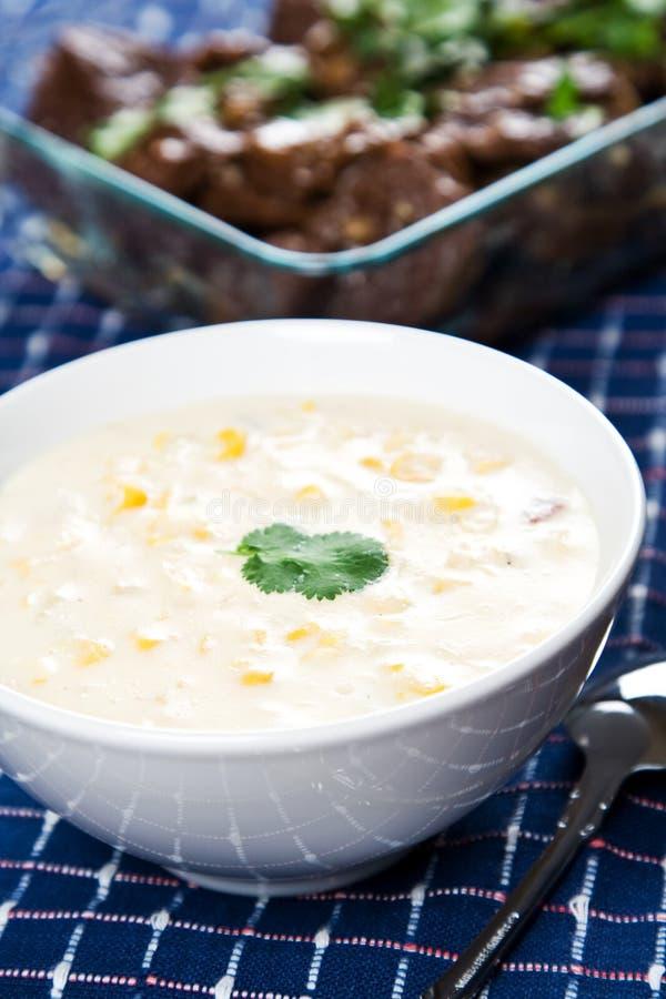 κρεμώδης σούπα καλαμποκ& στοκ φωτογραφία με δικαίωμα ελεύθερης χρήσης