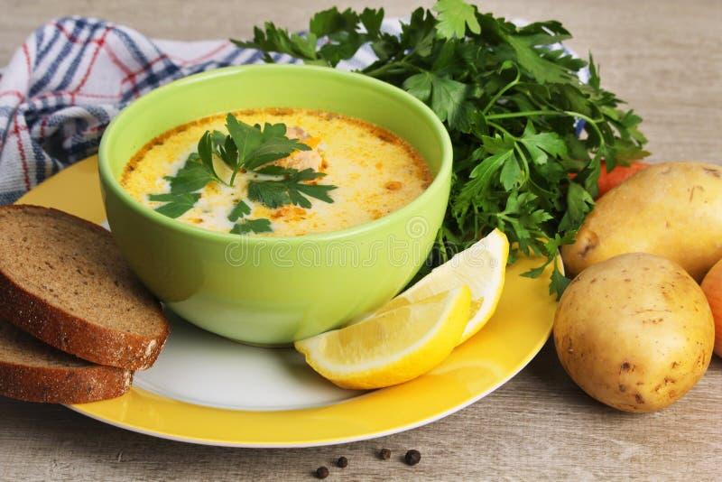Κρεμώδης σούπα σολομών, παραδοσιακό πιάτο για τη Σκανδιναβική κουζίνα στοκ εικόνα με δικαίωμα ελεύθερης χρήσης