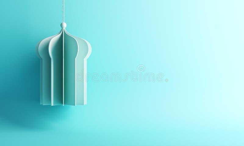 Κρεμώντας αραβικό έγγραφο παραθύρων ή μουσουλμανικών τεμενών που κόβεται στο μπλε υπόβαθρο κρητιδογραφιών ελεύθερη απεικόνιση δικαιώματος
