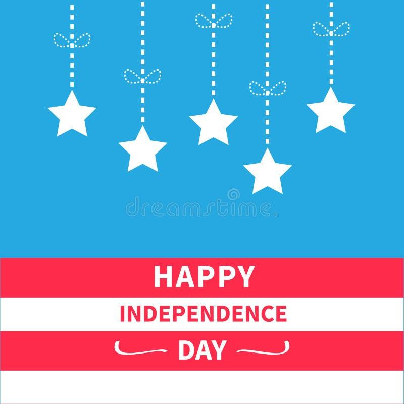 Κρεμώντας αστέρια με την ευτυχή ημέρα της ανεξαρτησίας Ηνωμένες Πολιτείες της Αμερικής υποβάθρου Srip τόξων γραμμών εξόρμησης 4η  διανυσματική απεικόνιση