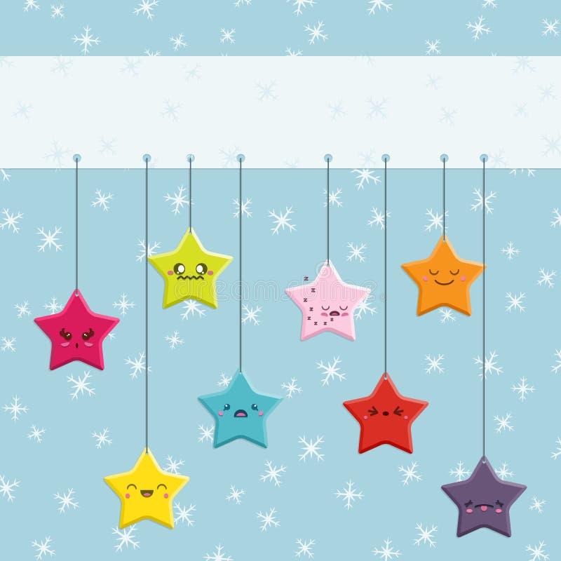 Κρεμώντας αστέρια Kawaii κινούμενων σχεδίων στοκ εικόνες με δικαίωμα ελεύθερης χρήσης