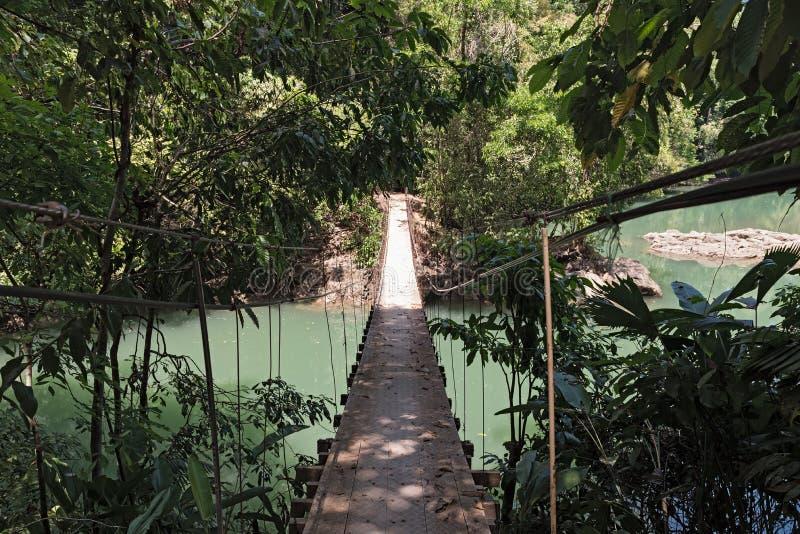 Κρεμώντας γέφυρα πέρα από το Ρίο Agujitas κοντά στην πάπια, Κόστα Ρίκα στοκ εικόνα