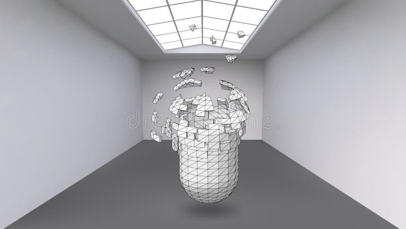Κρεμώντας κάψα πολλών μικρών πολυγώνων στο μεγάλο κενό δωμάτιο Το διάστημα έκθεσης είναι ένα αφηρημένο αντικείμενο, σφαιρική μορφ απεικόνιση αποθεμάτων