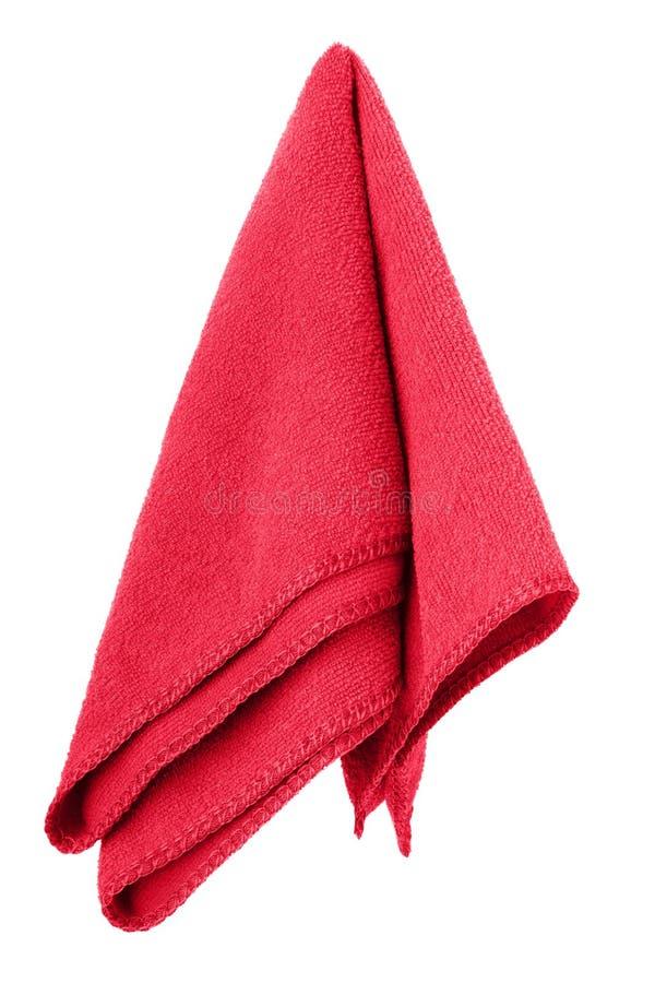 Κρεμώντας κόκκινη και καθαρή πετσέτα στοκ φωτογραφία με δικαίωμα ελεύθερης χρήσης
