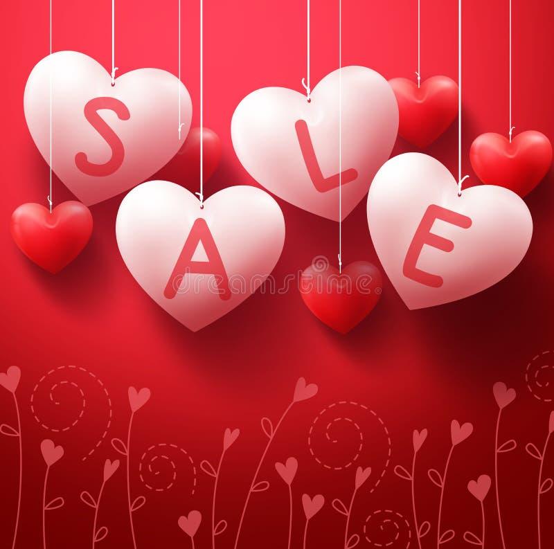 Κρεμώντας μπαλόνια πώλησης καρδιών για την προώθηση ημέρας βαλεντίνων απεικόνιση αποθεμάτων
