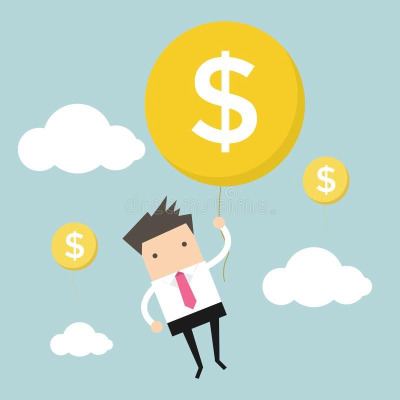 Κρεμώντας μπαλόνι χρημάτων επιχειρηματιών απεικόνιση αποθεμάτων