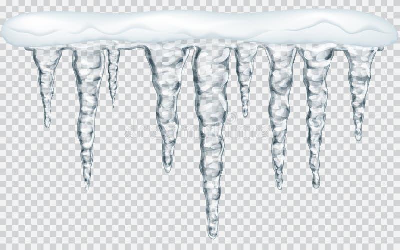 Κρεμώντας παγάκια με το χιόνι απεικόνιση αποθεμάτων