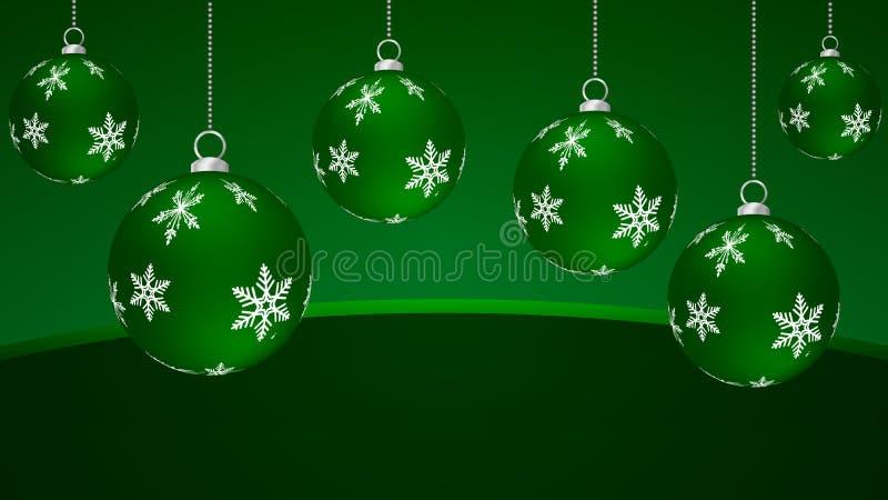Κρεμώντας πράσινες σφαίρες Χριστουγέννων διανυσματική απεικόνιση