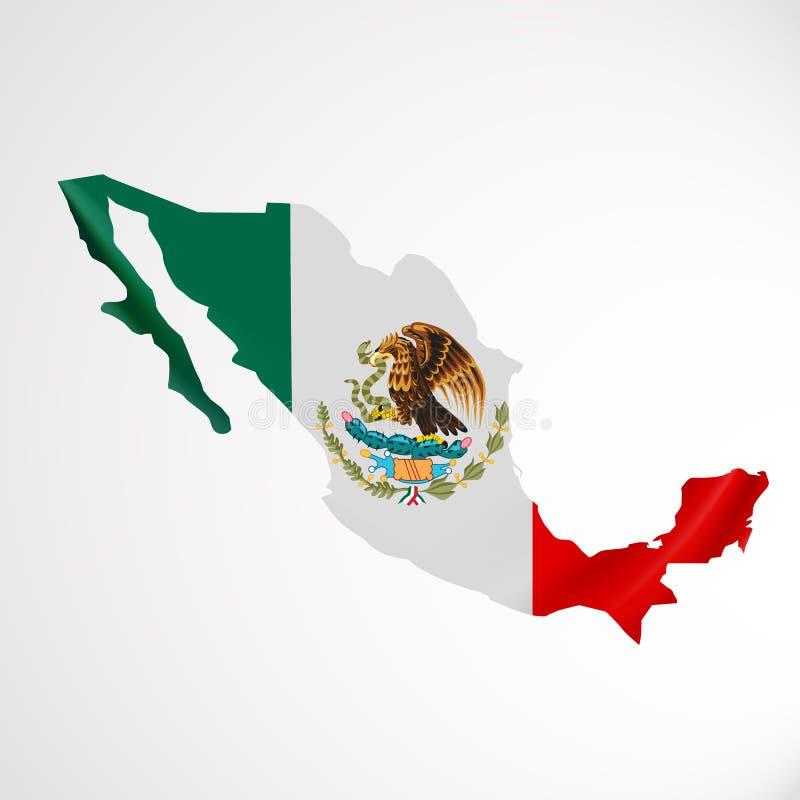 Κρεμώντας σημαία του Μεξικού με μορφή χάρτη Ενωμένα μεξικάνικα κράτη Έννοια εθνικών σημαιών ελεύθερη απεικόνιση δικαιώματος