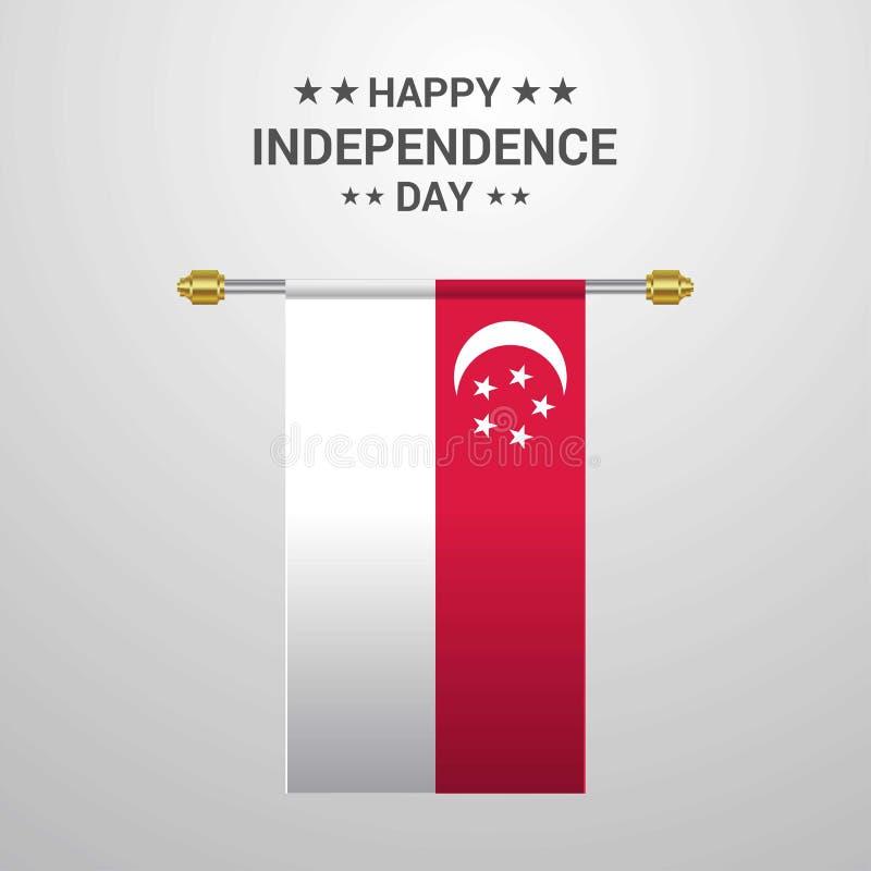 Κρεμώντας υπόβαθρο σημαιών ημέρας της ανεξαρτησίας της Σιγκαπούρης ελεύθερη απεικόνιση δικαιώματος