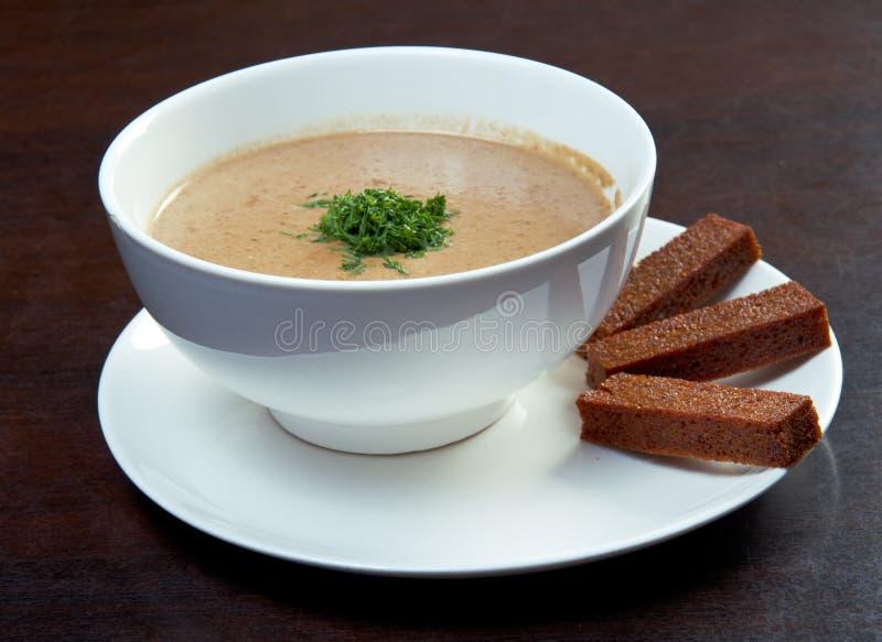 κρεμώδης σούπα μανιταριών στοκ φωτογραφίες