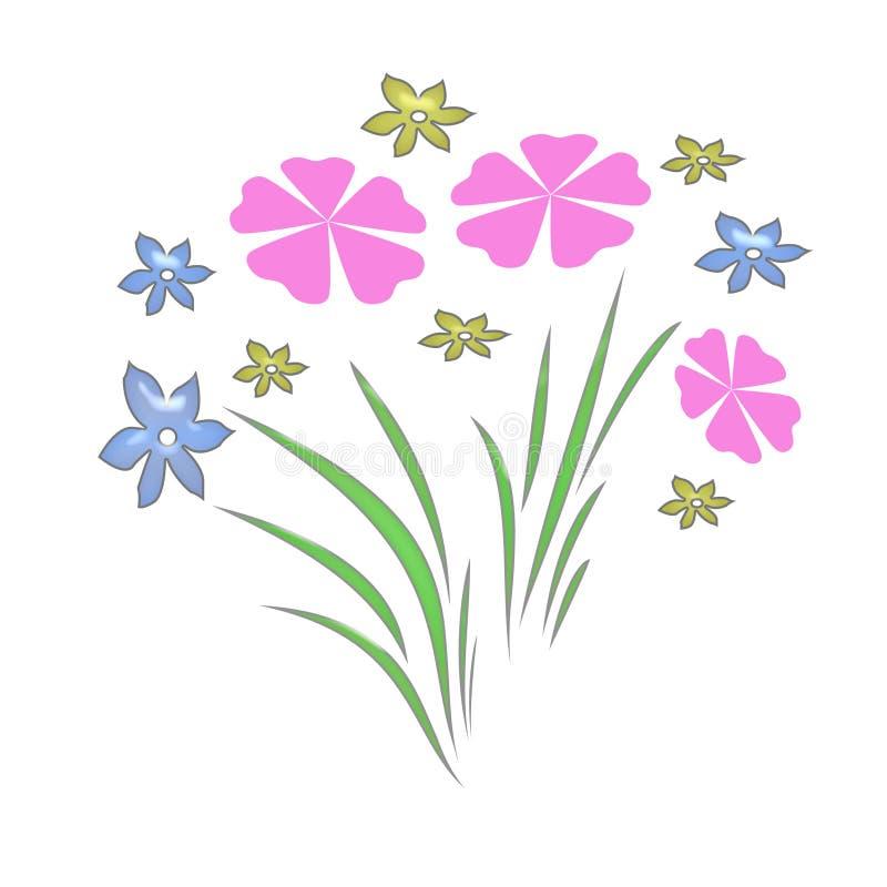κρητιδογραφία κήπων λουλουδιών διανυσματική απεικόνιση