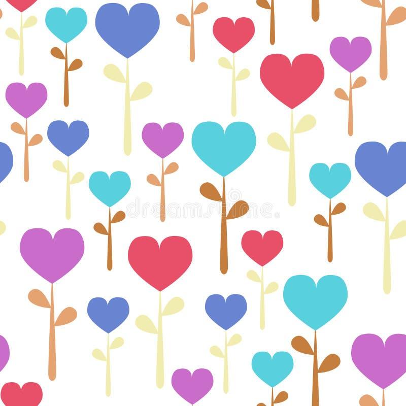 κρητιδογραφία καρδιών λουλουδιών άνευ ραφής διανυσματική απεικόνιση