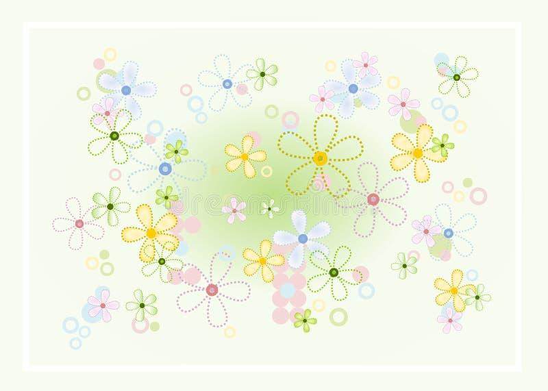 κρητιδογραφία λουλουδιών ανασκόπησης διανυσματική απεικόνιση