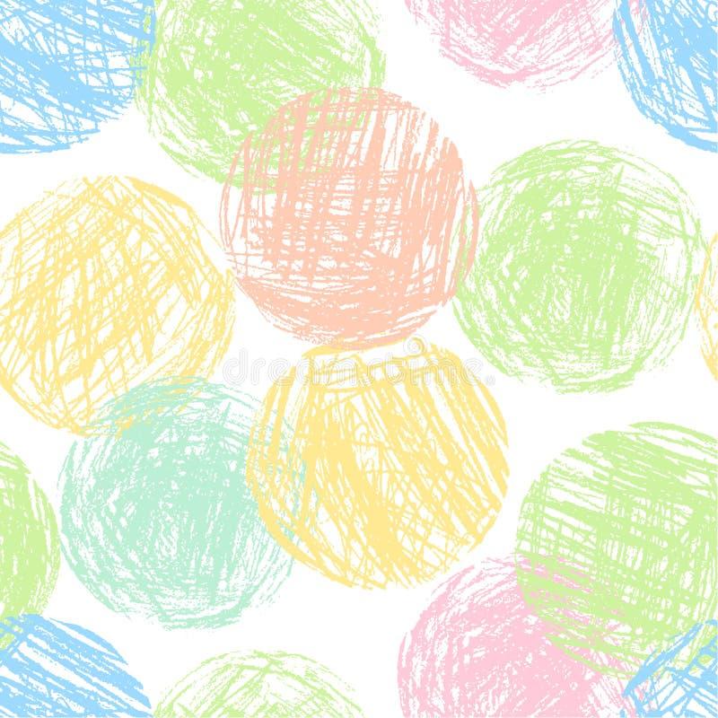 Κρητιδογραφιών μαλακό άνευ ραφής σχέδιο μορφών κύκλων χρώματος ζωηρόχρωμο γεωμετρικό διανυσματική απεικόνιση
