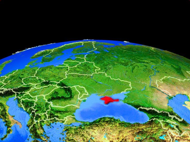 Κριμαία από το διάστημα στη γη διανυσματική απεικόνιση