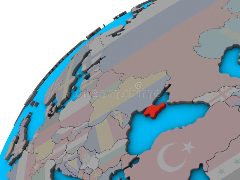 Κριμαία με τη σημαία στην τρισδιάστατη σφαίρα διανυσματική απεικόνιση