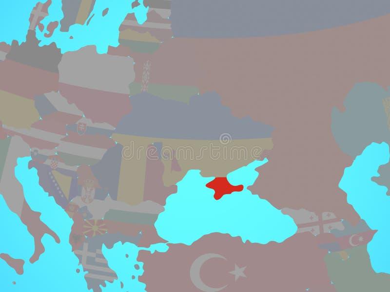 Κριμαία με τη σημαία στο χάρτη απεικόνιση αποθεμάτων
