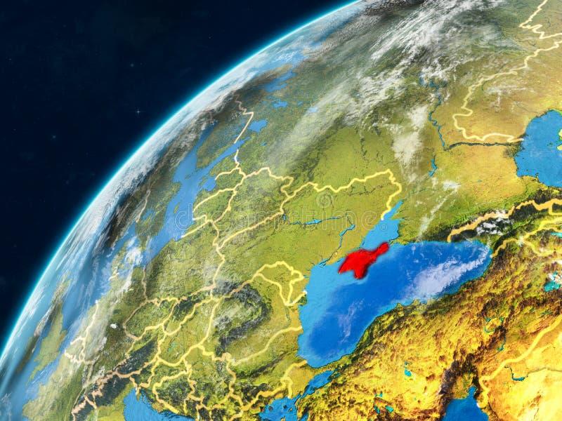 Κριμαία στη γη με τα σύνορα διανυσματική απεικόνιση