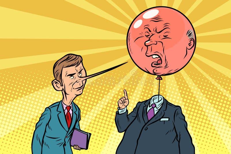 Κριτικός κόμικς με μια μακριά μύτη και ένα άγριο κεφάλι φυσαλίδων ελεύθερη απεικόνιση δικαιώματος