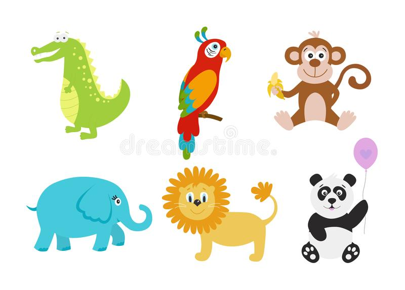 Κροκόδειλος κινούμενων σχεδίων, ελέφαντας, panda, λιοντάρι, παπαγάλος, πίθηκος για το β απεικόνιση αποθεμάτων