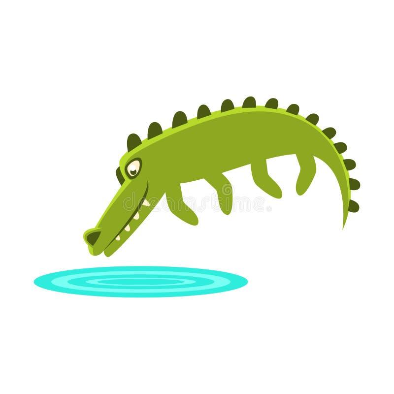 Κροκόδειλος που πηδά στη μικρή λίμνη του νερού, του χαρακτήρα κινουμένων σχεδίων και της καθημερινής απεικόνισης δραστηριότητας ά διανυσματική απεικόνιση