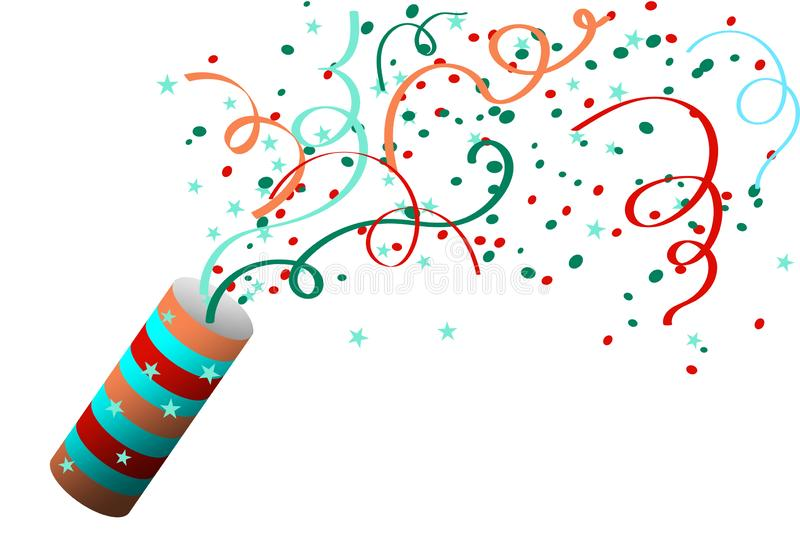 Κροτίδα κόμματος με το κομφετί Εορτασμός ενός νέου έτους, γενέθλια, επέτειος ελεύθερη απεικόνιση δικαιώματος