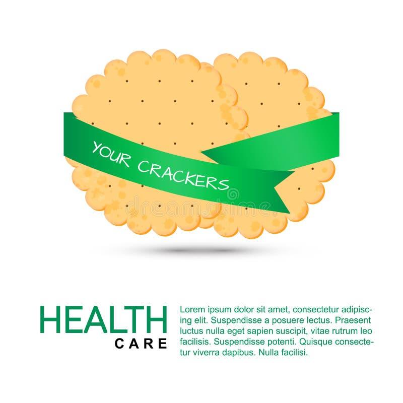 Κροτίδα κύκλων για την υγεία Απομονωμένο μπισκότο διανυσματική απεικόνιση