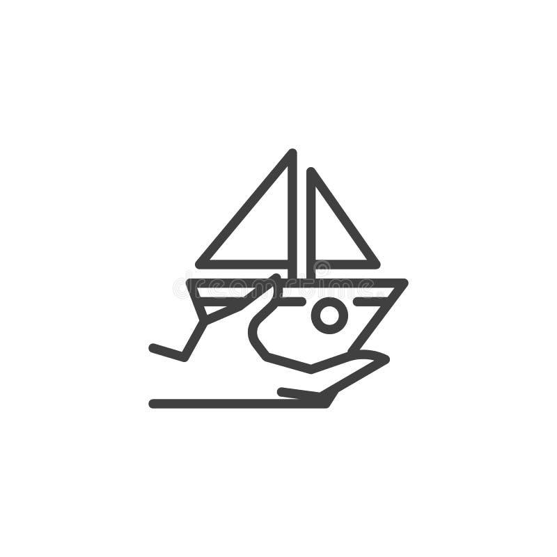 Κρουαζιέρα, εικονίδιο ασφαλιστικών γραμμών σκαφών απεικόνιση αποθεμάτων