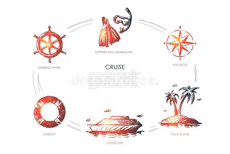 Κρουαζιέρα - τιμόνι, lifebuoy, κρουαζιερόπλοιο, νησί φοινικών, windrose, βατραχοπέδιλα και σύνολο έννοιας κολύμβησης με αναπνευστ διανυσματική απεικόνιση