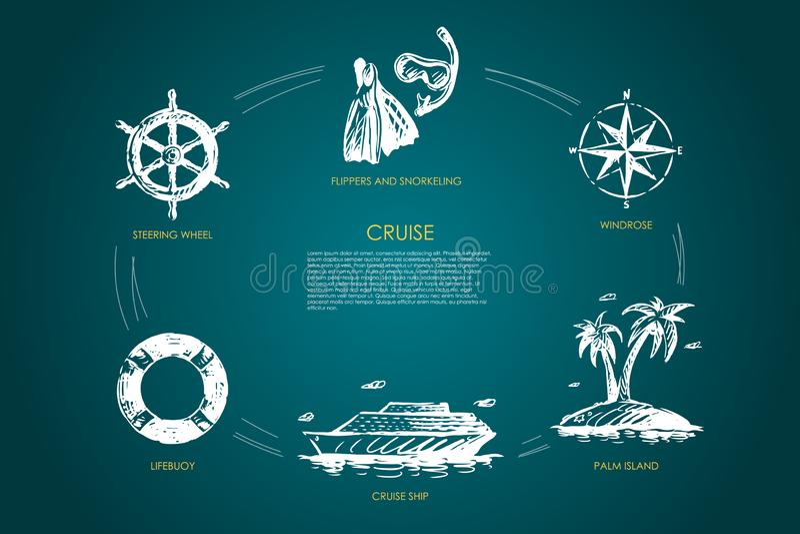 Κρουαζιέρα - τιμόνι, lifebuoy, κρουαζιερόπλοιο, νησί φοινικών, windrose, βατραχοπέδιλα και σύνολο έννοιας κολύμβησης με αναπνευστ απεικόνιση αποθεμάτων