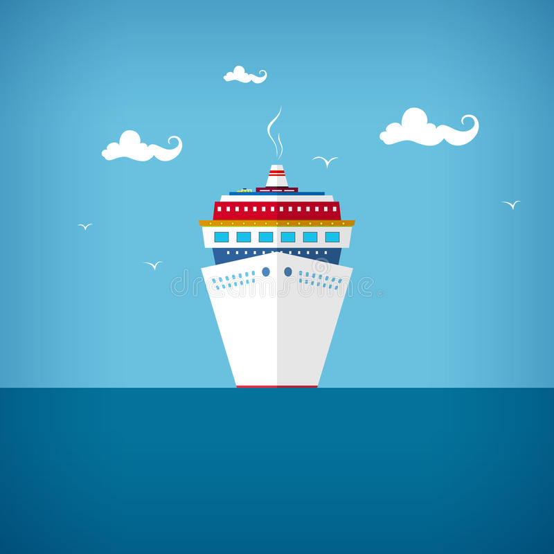 Κρουαζιερόπλοιο εν πλω ή στον ωκεανό σε μια ηλιόλουστη ημέρα απεικόνιση αποθεμάτων