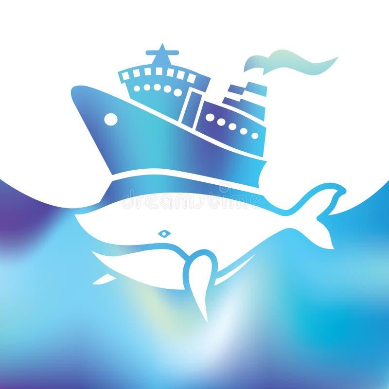Κρουαζιερόπλοιο διακοπών - μεγάλη φάλαινα - θάλασσα συμβόλων ελεύθερη απεικόνιση δικαιώματος