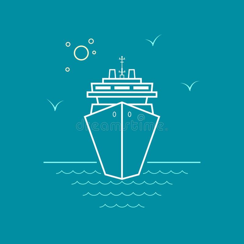 Κρουαζιερόπλοιο, σχέδιο ύφους γραμμών ελεύθερη απεικόνιση δικαιώματος