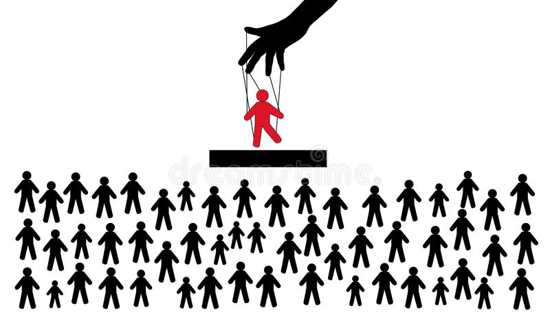 Κρυμμένη διαχείριση ανθρώπων Μαριονέτα στα χέρια του διευθυντή Το πλήθος των θεατών Η μαριονέτα παρουσιάζει διανυσματική απεικόνιση