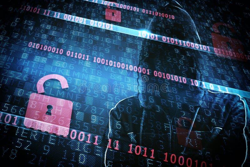 Κρυμμένη ταυτότητα ενός χάκερ στοκ φωτογραφία