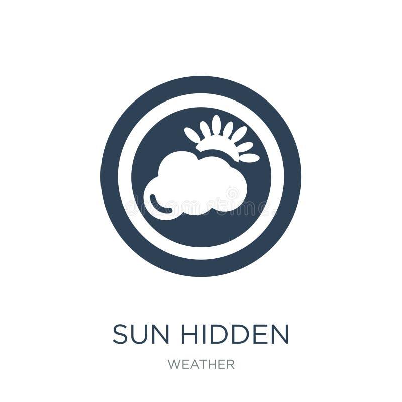 κρυμμένο ήλιος μερικώς εικονίδιο στο καθιερώνον τη μόδα ύφος σχεδίου κρυμμένο ήλιος μερικώς εικονίδιο που απομονώνεται στο άσπρο  διανυσματική απεικόνιση