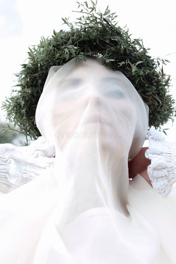 Κρυμμένο κορίτσι άσπρο πέπλο φάντασμα της νύφης στοκ φωτογραφίες με δικαίωμα ελεύθερης χρήσης
