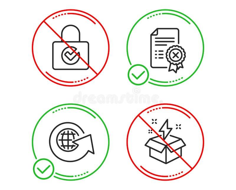 Κρυπτογράφηση κωδικού πρόσβασης, παγκόσμια σφαίρα και εικονίδια πιστοποιητικών απορριμάτων καθορισμένες Δημιουργικό σημάδι ιδέας  διανυσματική απεικόνιση