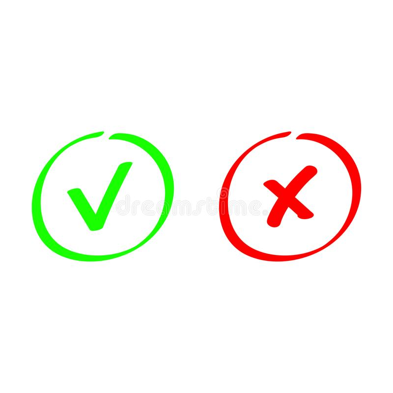 Κρότωνας και σταυρός Επιλογή δοκιμής Ψηφίζοντας κουμπί ο τρισδιάστατος έλεγχος παρήγαγε το πράσινο κόκκινο σημαδιών εικόνας διανυσματική απεικόνιση