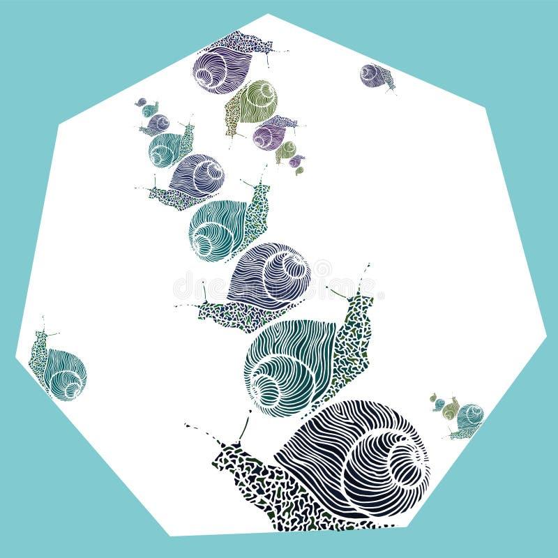 Κρύα διακοσμητικά σαλιγκάρια τόνων στο πολύγωνο στοκ εικόνα με δικαίωμα ελεύθερης χρήσης