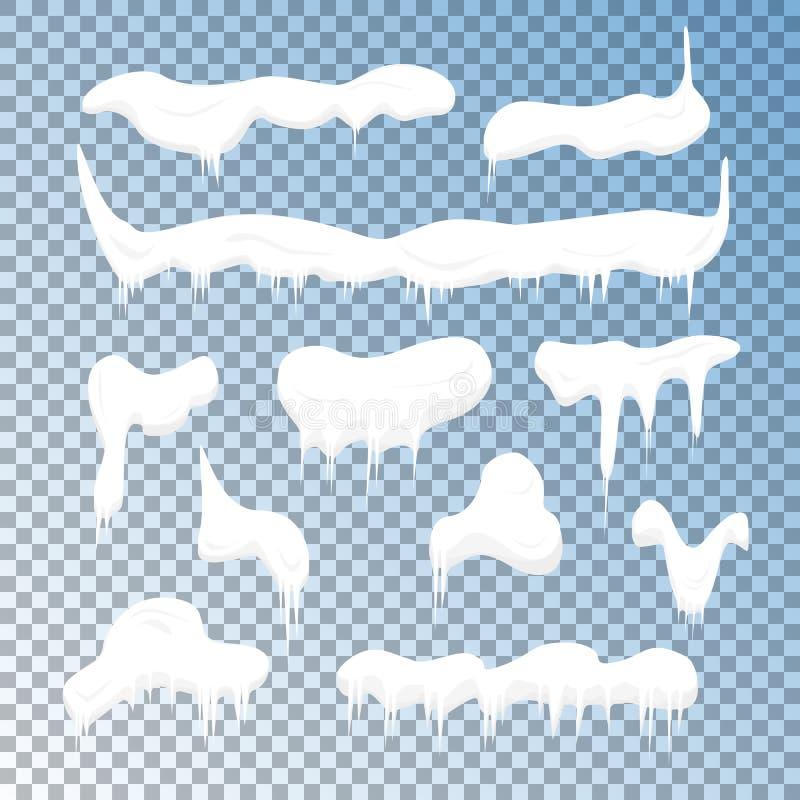 Κρύα καλύμματα χιονιού παγετού καθορισμένα διάνυσμα ελεύθερη απεικόνιση δικαιώματος