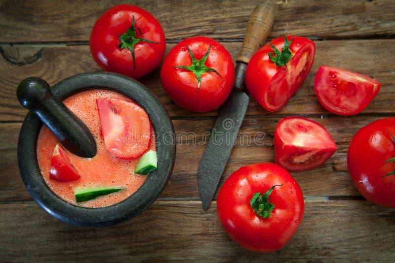 Κρύα σούπα ντοματών στοκ εικόνα