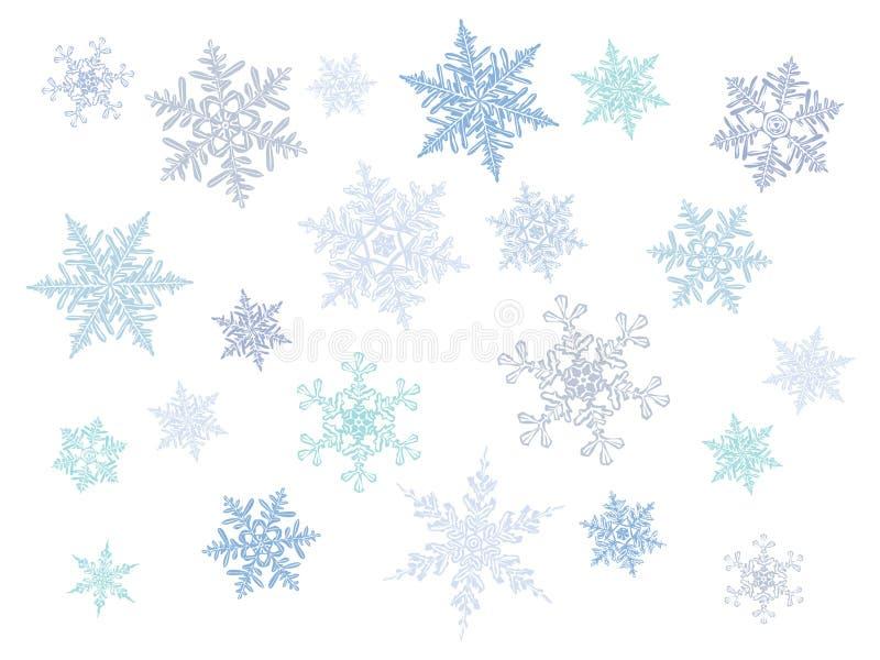 Κρύα snowflakes κλίσης κρυστάλλου - διανυσματικό σύνολο διανυσματική απεικόνιση
