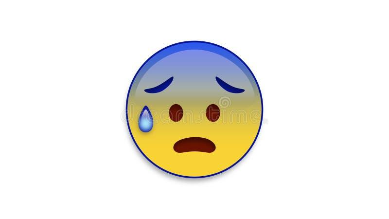 Κρύος ιδρώτας Emoji με τη μεταλλίνη Luma απεικόνιση αποθεμάτων