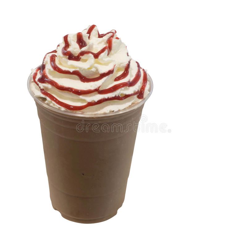 Κρύος φρέσκος καταφερτζής καφέ mocha στο take-$l*away γυαλί στοκ φωτογραφία με δικαίωμα ελεύθερης χρήσης