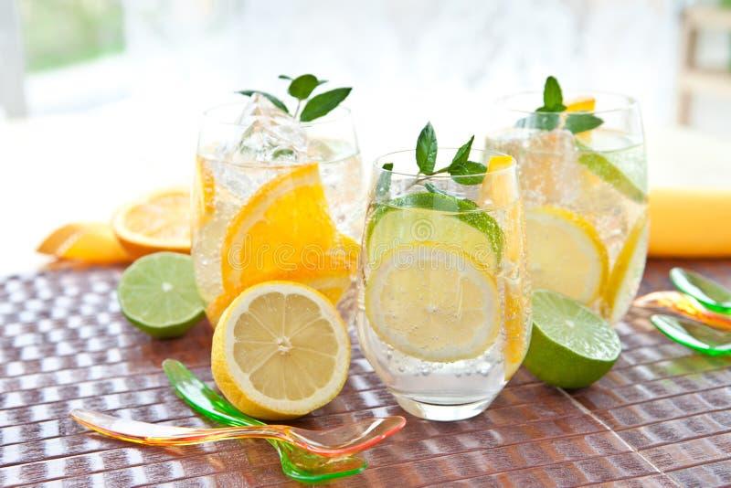 Κρύο ποτό με τα λεμόνια και τα πορτοκάλια στοκ εικόνες