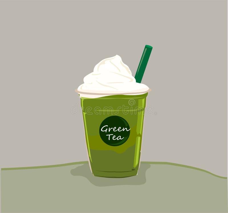 Κρύο πράσινο τσάι Matcha με την κτυπημένα κρέμα και το άχυρο απεικόνιση αποθεμάτων