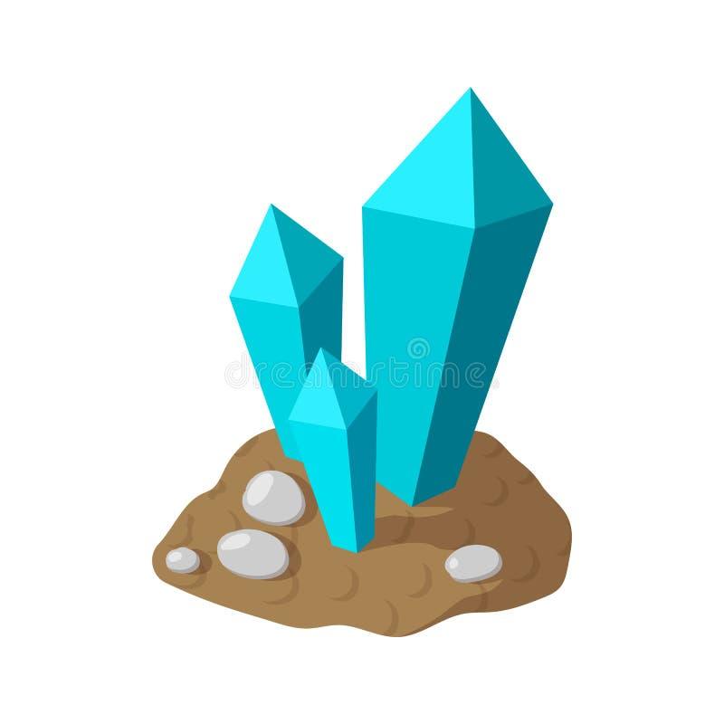 Κρύσταλλα στο εικονίδιο γήινων κινούμενων σχεδίων διανυσματική απεικόνιση